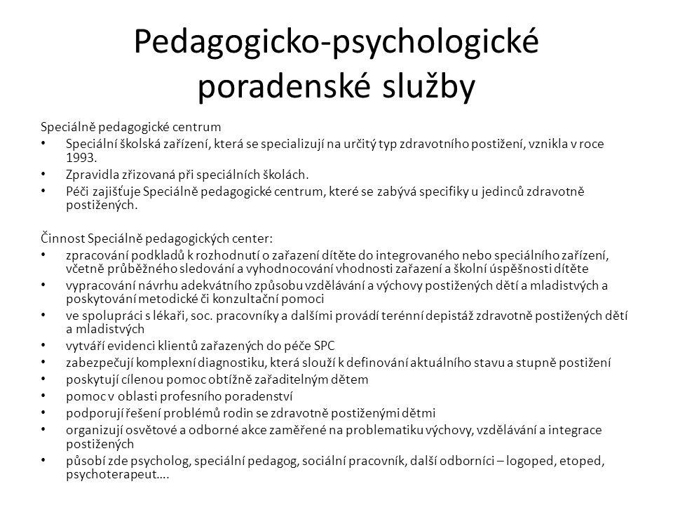 Pedagogicko-psychologické poradenské služby Speciálně pedagogické centrum Speciální školská zařízení, která se specializují na určitý typ zdravotního