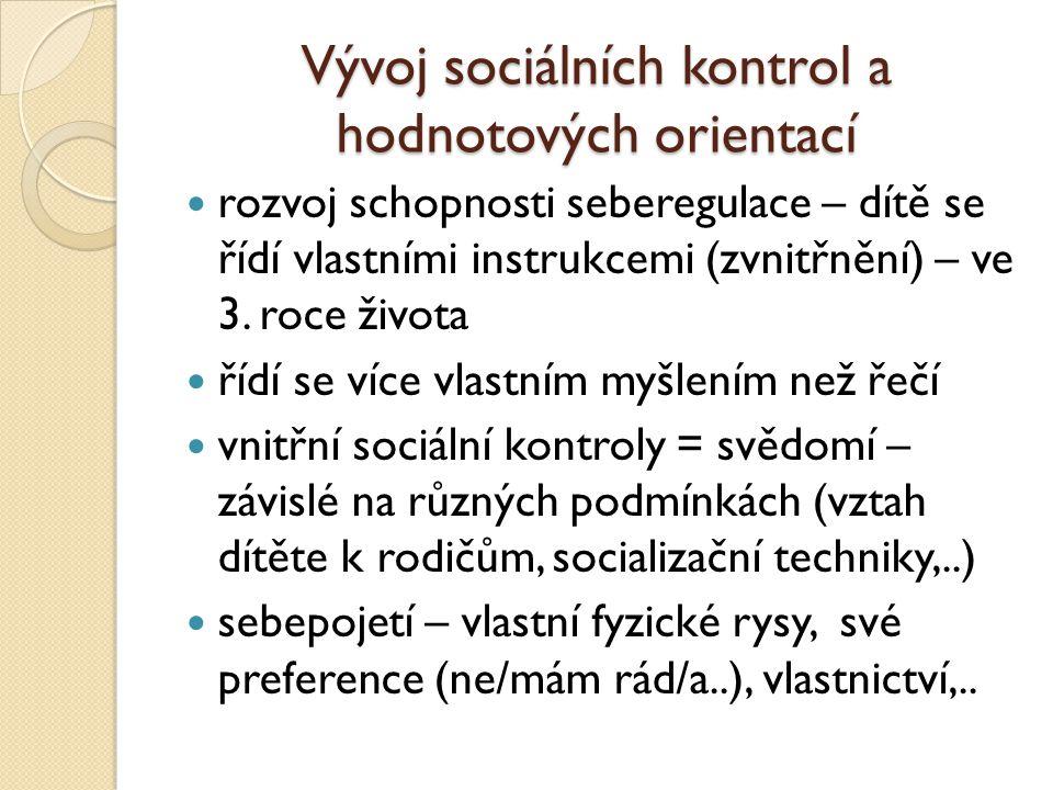 Vývoj sociálních kontrol a hodnotových orientací rozvoj schopnosti seberegulace – dítě se řídí vlastními instrukcemi (zvnitřnění) – ve 3.