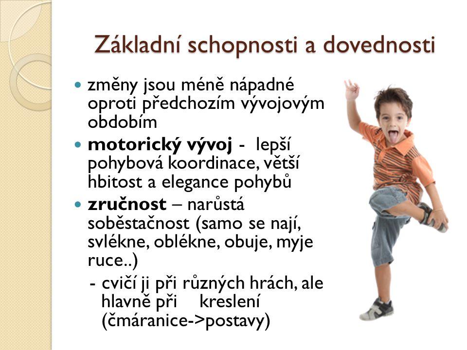 """Základní schopnosti a dovednosti řeč – značně se zdokonaluje - 3 roky: slovní zásoba kolem 1000 slov, dítě ještě """"drmolí , umí říkanky - 4 – 5 let: mizí dětská patlavost, souvětí podřadná, lépe naslouchá (pohádky) - 6 let: slovní zásoba kolem 2500 slov, zpívají písničky -dítě rádo povídá a často je samo sobě jediným posluchačem"""