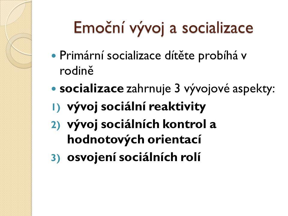 Emoční vývoj a socializace Primární socializace dítěte probíhá v rodině socializace zahrnuje 3 vývojové aspekty: 1) vývoj sociální reaktivity 2) vývoj sociálních kontrol a hodnotových orientací 3) osvojení sociálních rolí