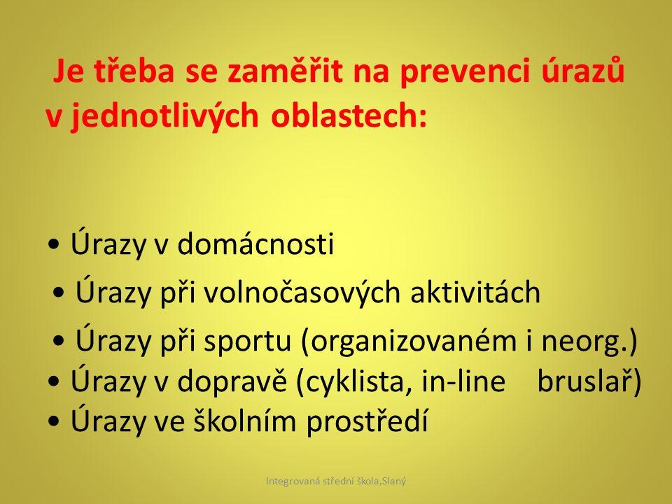 Je třeba se zaměřit na prevenci úrazů v jednotlivých oblastech: Úrazy v domácnosti Úrazy při volnočasových aktivitách Úrazy při sportu (organizovaném