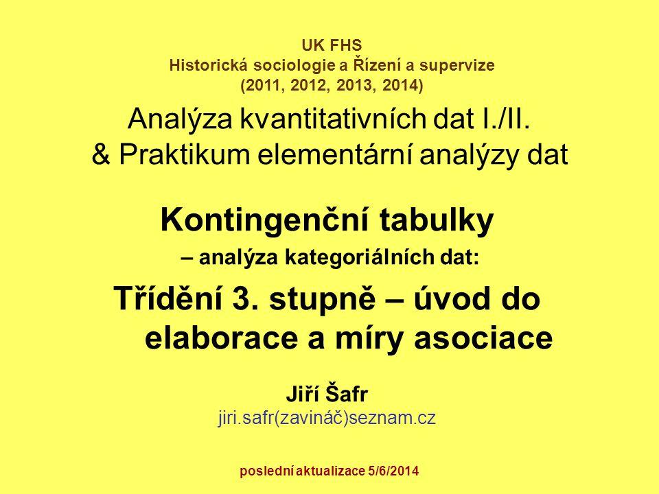 Analýza kvantitativních dat I./II. & Praktikum elementární analýzy dat Kontingenční tabulky – analýza kategoriálních dat: Třídění 3. stupně – úvod do