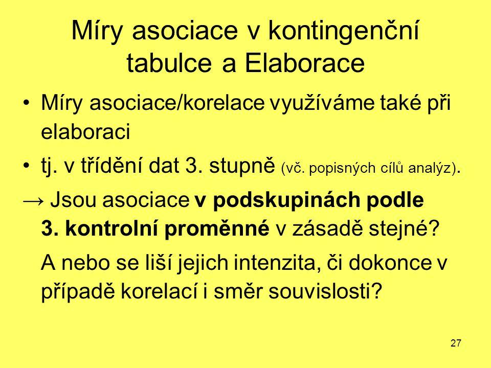 27 Míry asociace v kontingenční tabulce a Elaborace Míry asociace/korelace využíváme také při elaboraci tj. v třídění dat 3. stupně (vč. popisných cíl