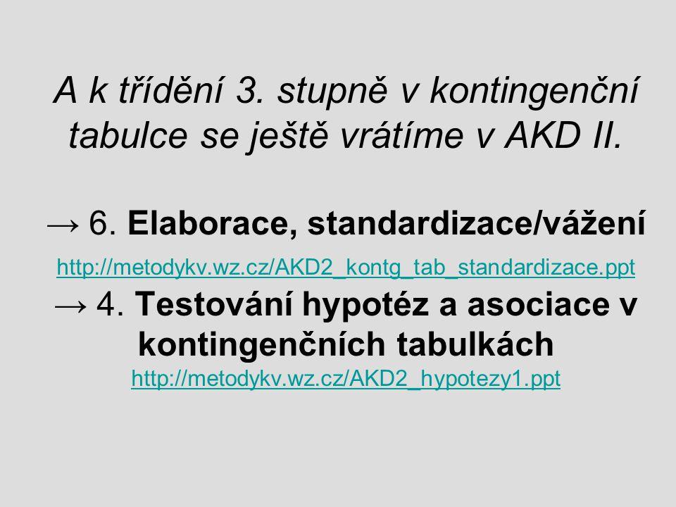 A k třídění 3. stupně v kontingenční tabulce se ještě vrátíme v AKD II. → 6. Elaborace, standardizace/vážení http://metodykv.wz.cz/AKD2_kontg_tab_stan