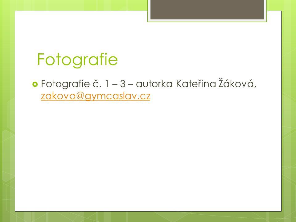 Fotografie  Fotografie č. 1 – 3 – autorka Kateřina Žáková, zakova@gymcaslav.cz zakova@gymcaslav.cz