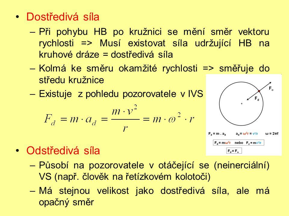 Dostředivá síla –Při pohybu HB po kružnici se mění směr vektoru rychlosti => Musí existovat síla udržující HB na kruhové dráze = dostředivá síla –Kolm