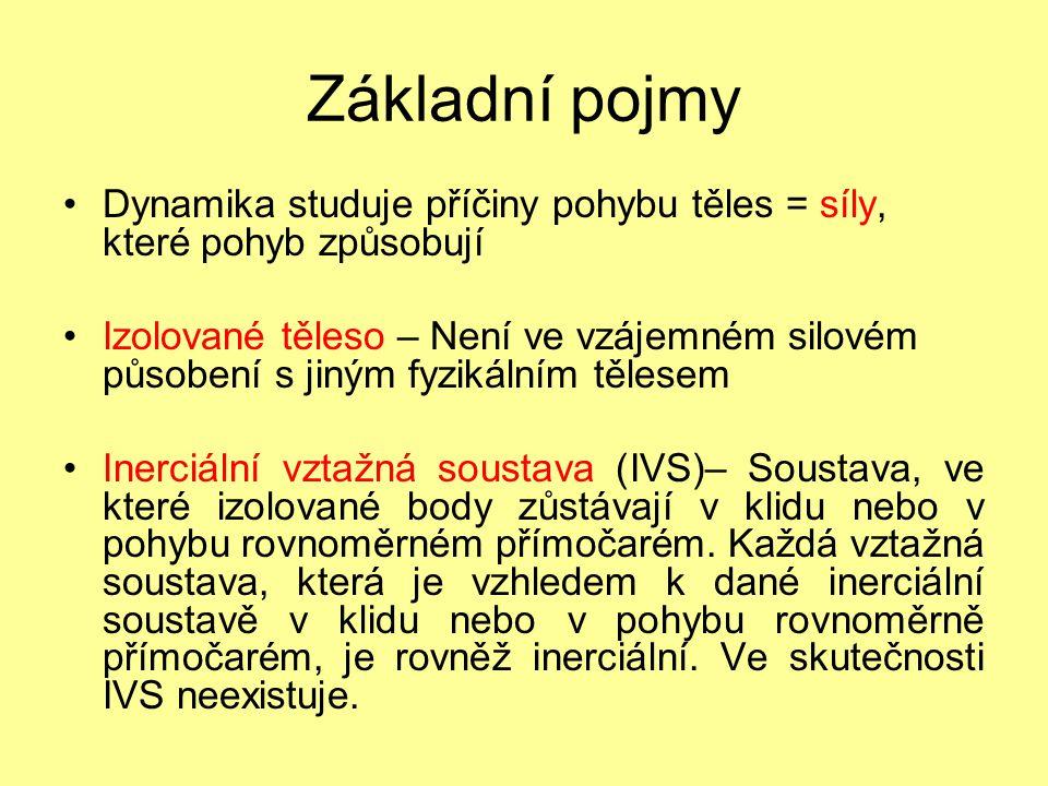Základní pojmy Dynamika studuje příčiny pohybu těles = síly, které pohyb způsobují Izolované těleso – Není ve vzájemném silovém působení s jiným fyzik