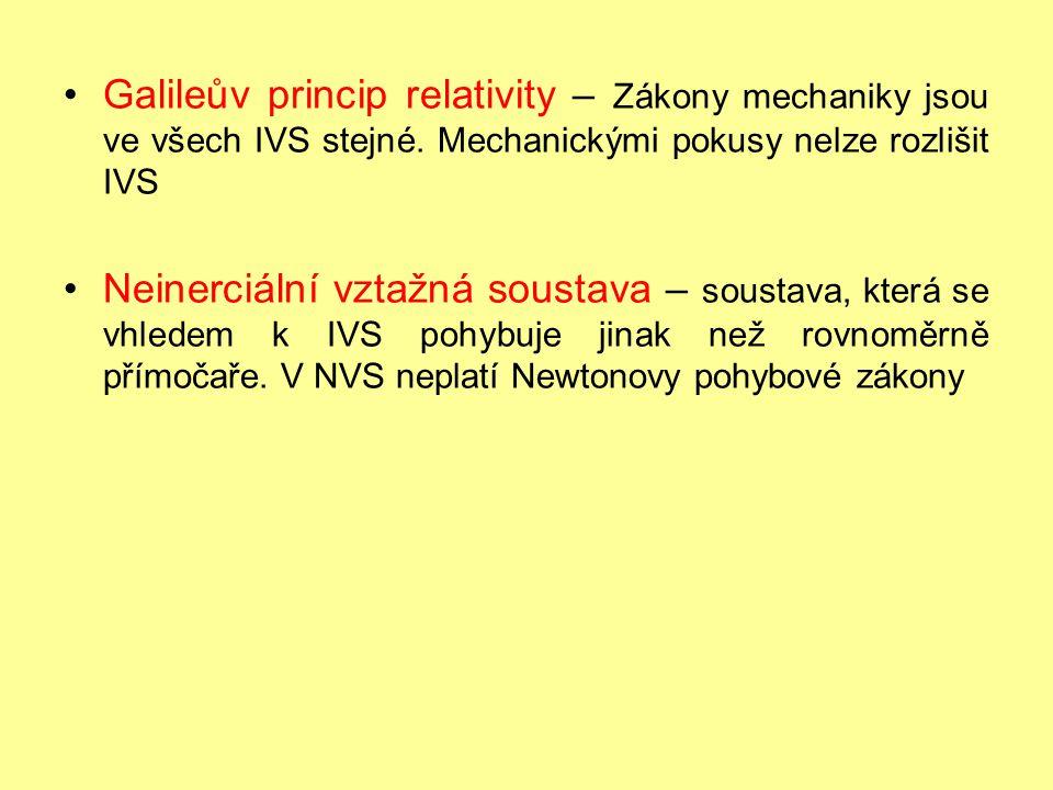 Galileův princip relativity – Zákony mechaniky jsou ve všech IVS stejné. Mechanickými pokusy nelze rozlišit IVS Neinerciální vztažná soustava – sousta