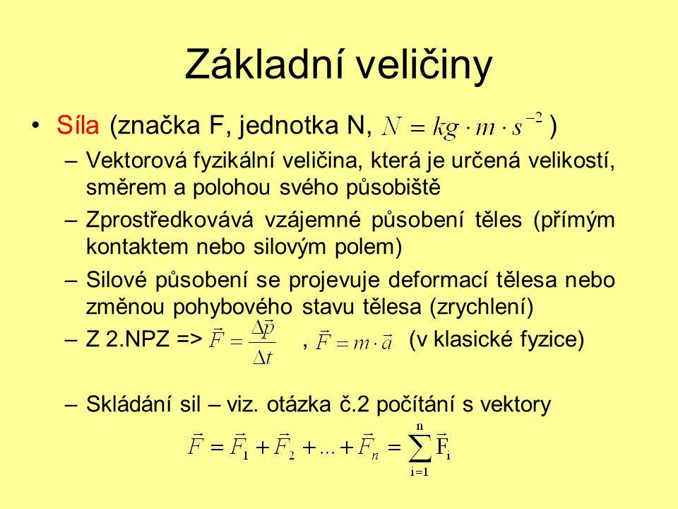 Základní veličiny Síla (značka F, jednotka N, ) –Vektorová fyzikální veličina, která je určená velikostí, směrem a polohou svého působiště –Zprostředk