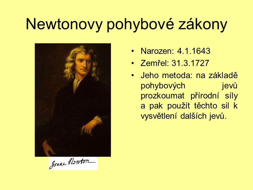 Newtonovy pohybové zákony Narozen: 4.1.1643 Zemřel: 31.3.1727 Jeho metoda: na základě pohybových jevů prozkoumat přírodní síly a pak použít těchto sil