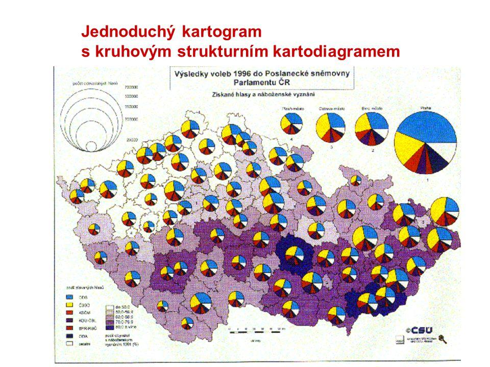 Jednoduchý kartogram se strukturním kartodiagramem a metodou teček