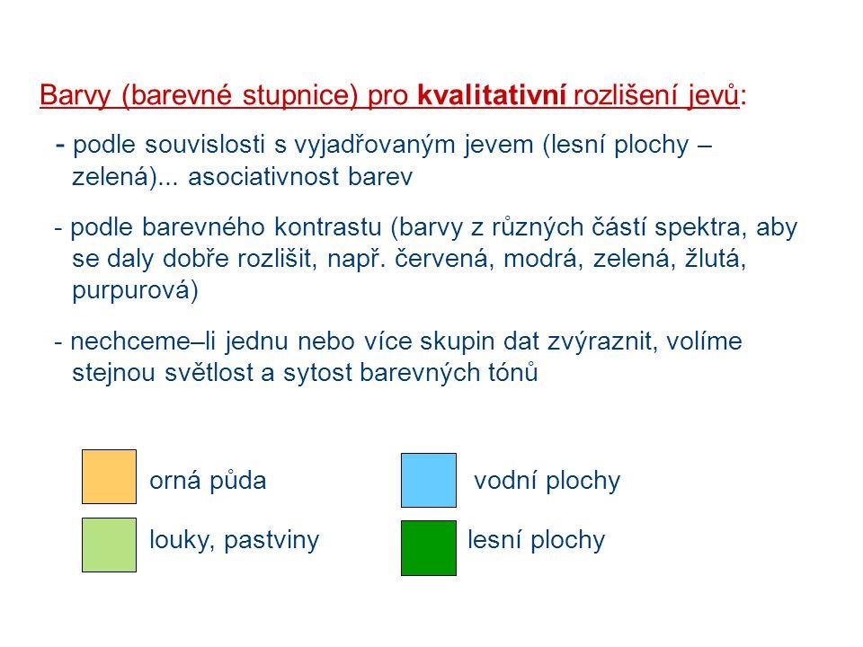 Barvy (barevné stupnice) pro kvalitativní rozlišení jevů: - podle souvislosti s vyjadřovaným jevem (lesní plochy – zelená)... asociativnost barev - po