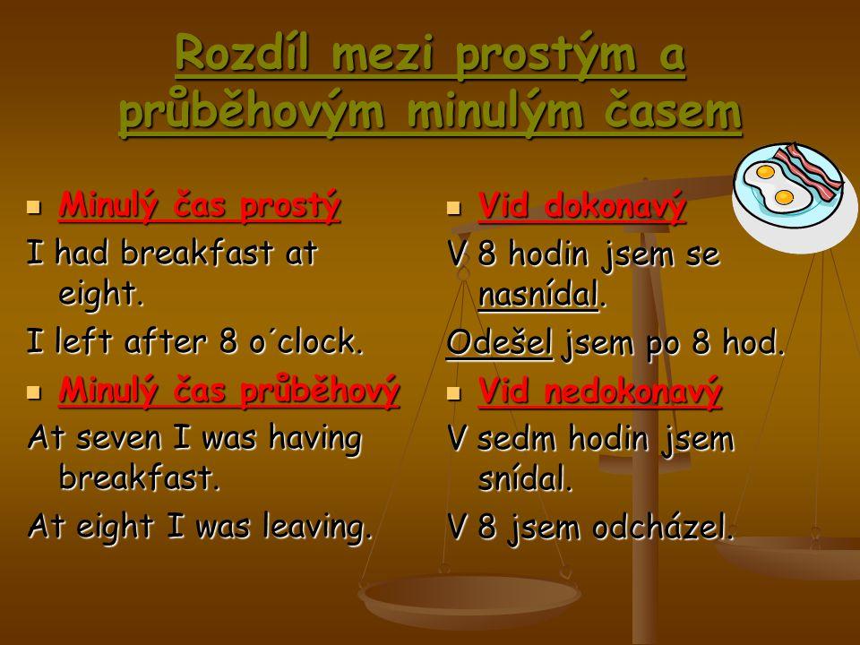 """Minulý čas prostý Minulý čas prostý Ozn.v.: Podmět+sloveso v min.čase (prav.a neprav.slovesa)… Otázka: Did+podmět+sloveso v přít.čase… Zápor: Podmět+didn´t+sloveso v přít.čase… Minulý čas průběhový Minulý čas průběhový Ozn.v.: Podmět+sloveso """"to be (was, were) v min.čase+sloveso s koncovkou –ing… Otázka: Was/Were+podmět+sloveso s koncovkou –ing… Zápor: Podmět+wasn´t/weren´t+sloveso s koncovkou – ing…"""