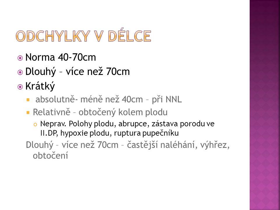  Norma 40-70cm  Dlouhý – více než 70cm  Krátký  absolutně- méně než 40cm – při NNL  Relativně – obtočený kolem plodu Neprav. Polohy plodu, abrupc