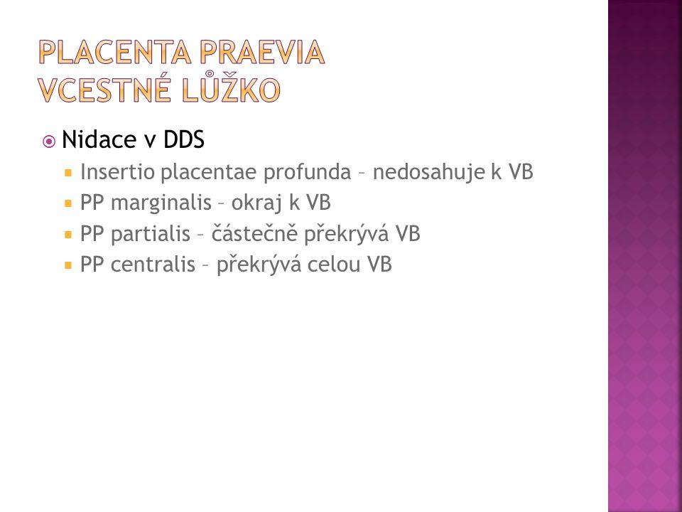  Nidace v DDS  Insertio placentae profunda – nedosahuje k VB  PP marginalis – okraj k VB  PP partialis – částečně překrývá VB  PP centralis – pře