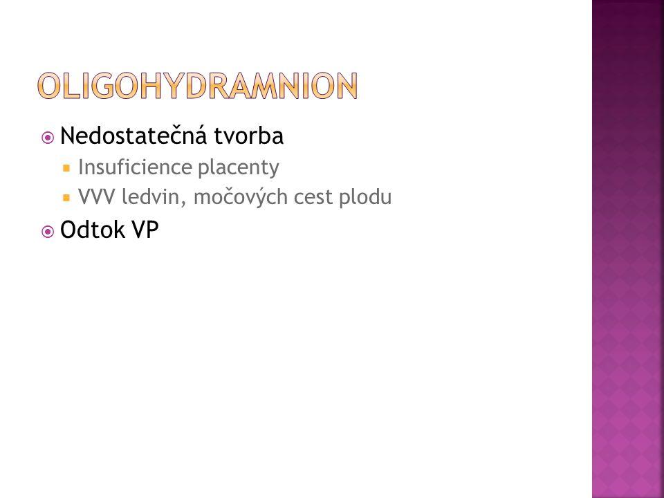  Nedostatečná tvorba  Insuficience placenty  VVV ledvin, močových cest plodu  Odtok VP