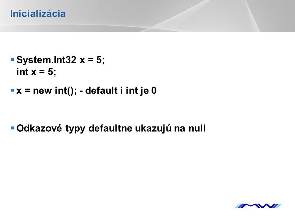 YOUR LOGO Inicializácia  System.Int32 x = 5; int x = 5;  x = new int(); - default i int je 0  Odkazové typy defaultne ukazujú na null