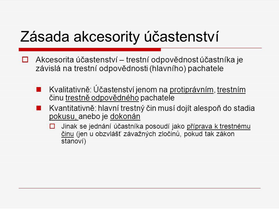 Zásada akcesority účastenství  Akcesorita účastenství – trestní odpovědnost účastníka je závislá na trestní odpovědnosti (hlavního) pachatele Kvalita