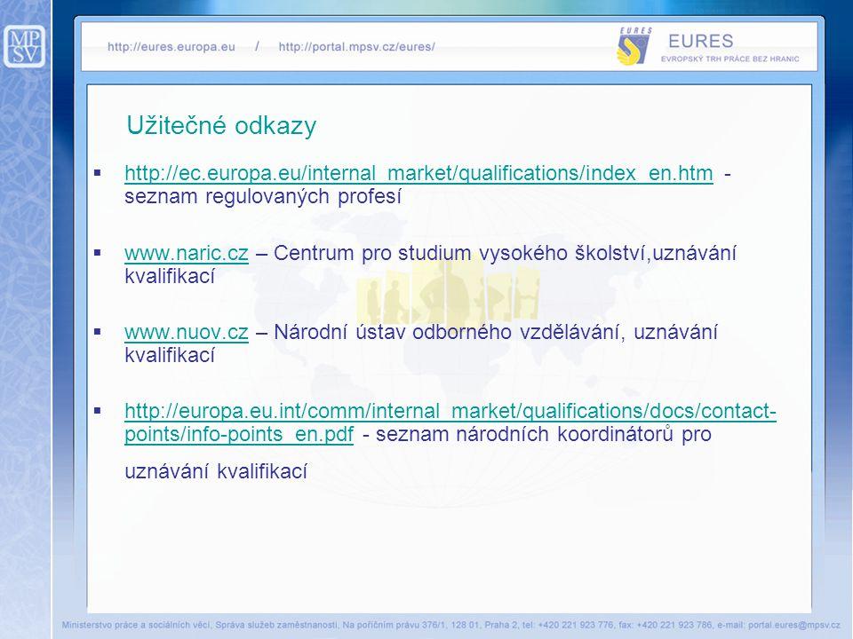 Užitečné odkazy  http://ec.europa.eu/internal_market/qualifications/index_en.htm - seznam regulovaných profesí http://ec.europa.eu/internal_market/qu