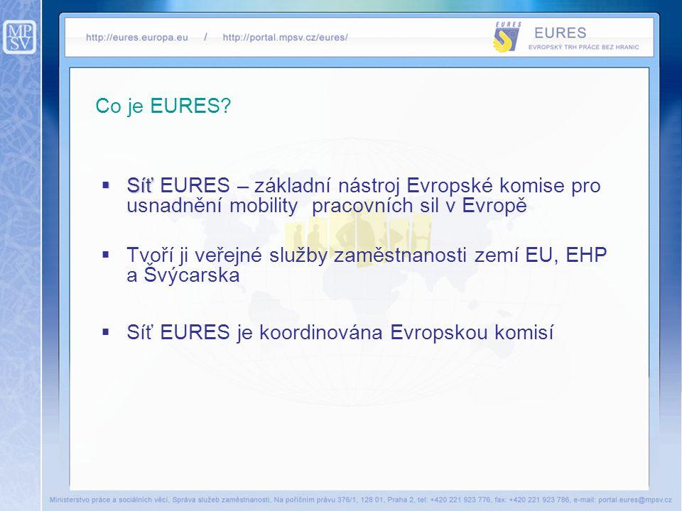 Co je EURES?  Síť –  Síť EURES – základní nástroj Evropské komise pro usnadnění mobility pracovních sil v Evropě  Tvoří ji veřejné služby zaměstnan