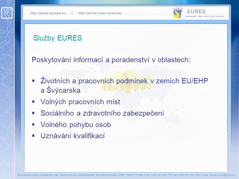 Služby EURES Poskytování informací a poradenství v oblastech:  Životních a pracovních podmínek v zemích EU/EHP a Švýcarska  Volných pracovních míst