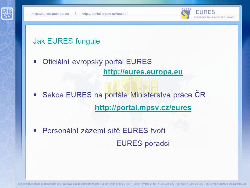 Jak EURES funguje  Oficiální evropský portál EURES http://eures.europa.eu  Sekce EURES na portále Ministerstva práce ČR http://portal.mpsv.cz/eures