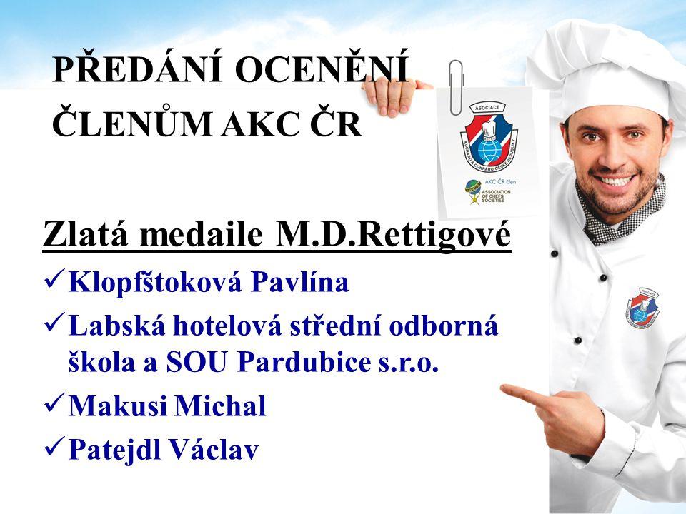 PŘEDÁNÍ OCENĚNÍ ČLENŮM AKC ČR Zlatá medaile M.D.Rettigové Peroutková Jiřina, Bc.