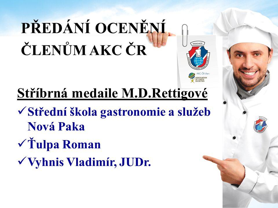 PŘEDÁNÍ OCENĚNÍ ČLENŮM AKC ČR Bronzová medaile M.D.Rettigové Bečvář Patrik Boráňová Jitka GTH catering a.s.