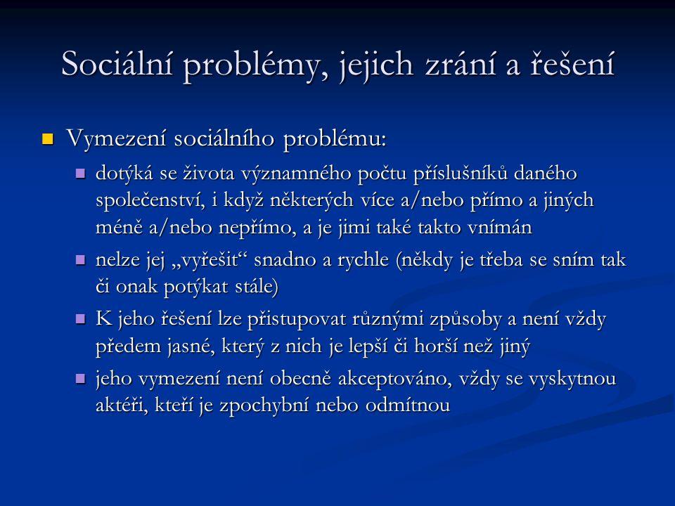 Sociální problémy, jejich zrání a řešení Vymezení sociálního problému: Vymezení sociálního problému: dotýká se života významného počtu příslušníků dan