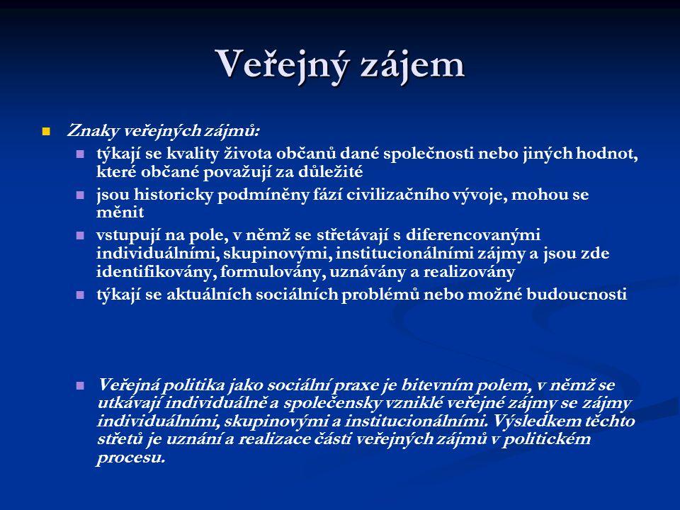 Veřejný zájem Znaky veřejných zájmů: týkají se kvality života občanů dané společnosti nebo jiných hodnot, které občané považují za důležité jsou histo