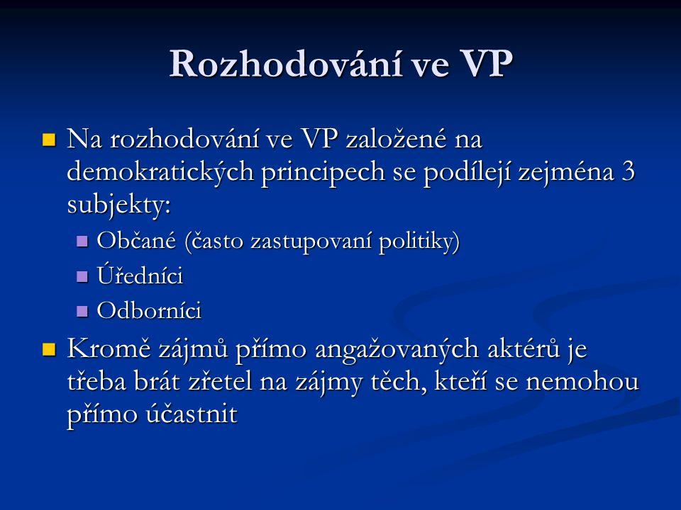 Rozhodování ve VP Na rozhodování ve VP založené na demokratických principech se podílejí zejména 3 subjekty: Na rozhodování ve VP založené na demokrat