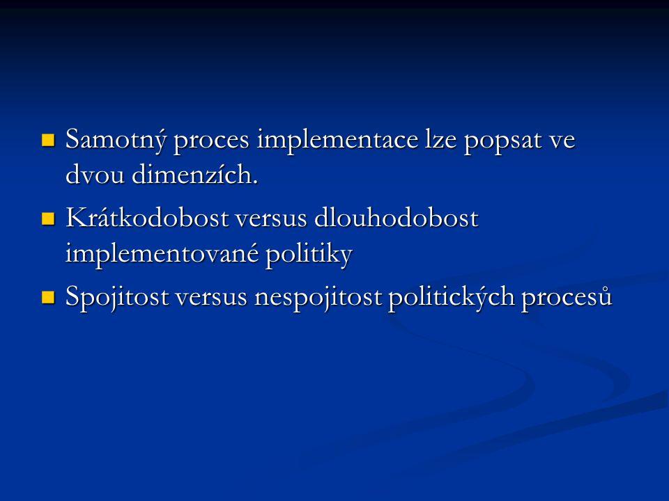 Samotný proces implementace lze popsat ve dvou dimenzích. Samotný proces implementace lze popsat ve dvou dimenzích. Krátkodobost versus dlouhodobost i