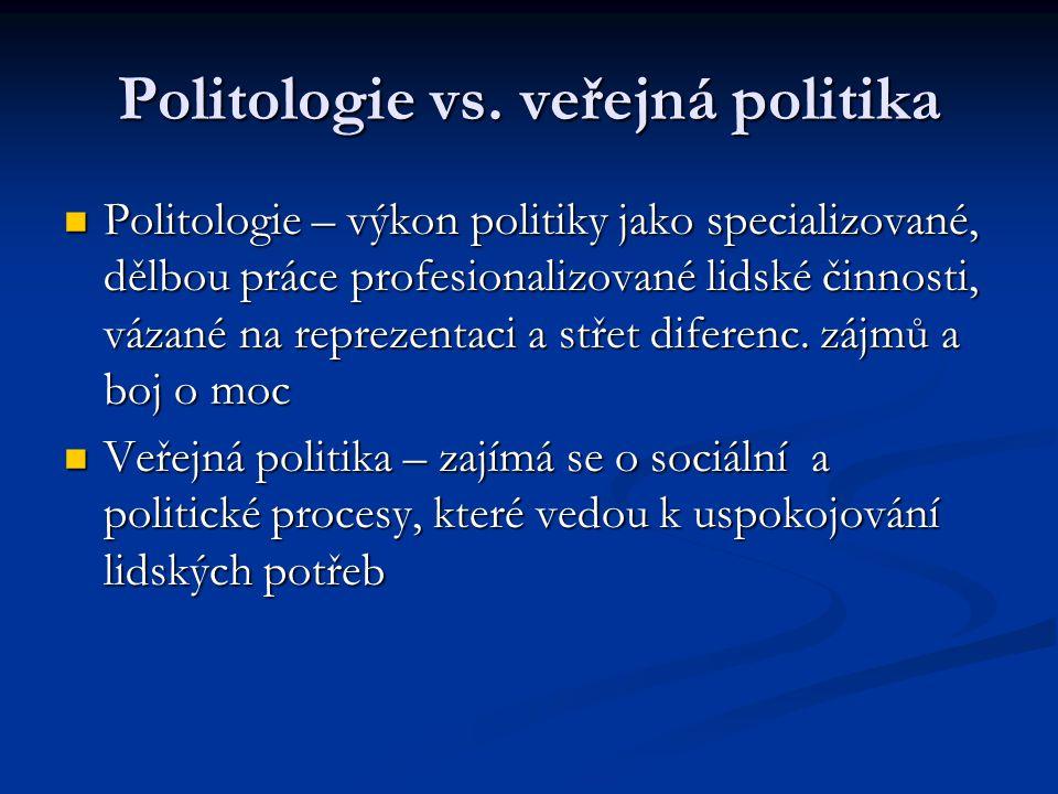 Politologie vs. veřejná politika Politologie – výkon politiky jako specializované, dělbou práce profesionalizované lidské činnosti, vázané na reprezen
