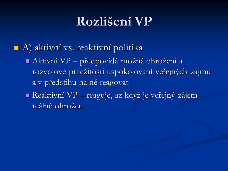 Rozlišení VP A) aktivní vs. reaktivní politika A) aktivní vs. reaktivní politika Aktivní VP – předpovídá možná ohrožení a rozvojové příležitosti uspok