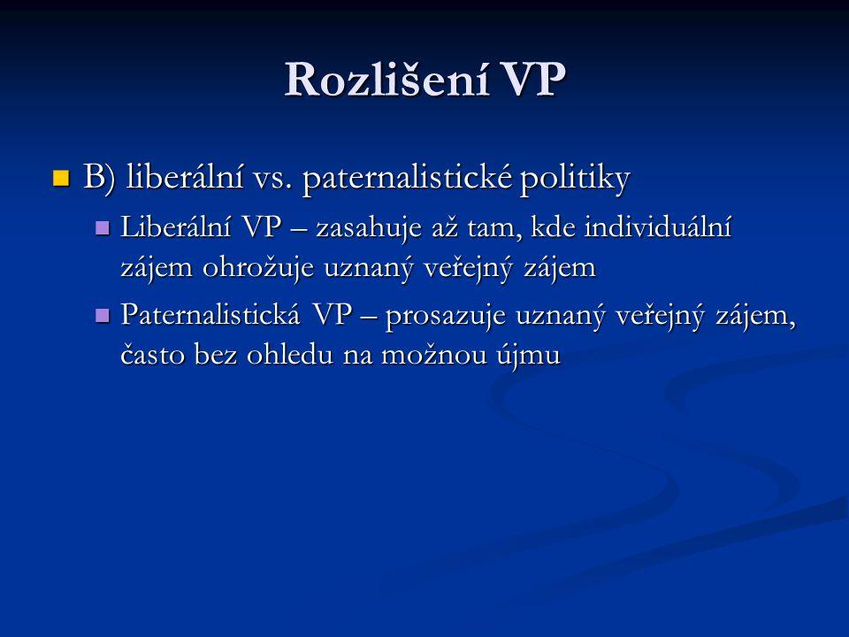 Rozlišení VP B) liberální vs. paternalistické politiky B) liberální vs. paternalistické politiky Liberální VP – zasahuje až tam, kde individuální záje