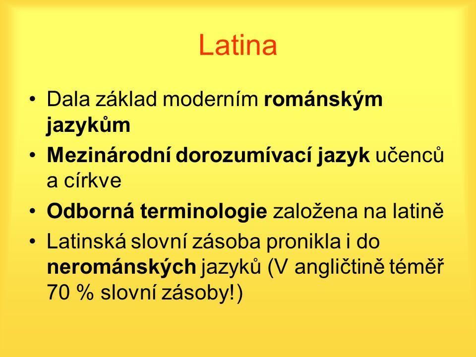 Latina Dala základ moderním románským jazykům Mezinárodní dorozumívací jazyk učenců a církve Odborná terminologie založena na latině Latinská slovní z