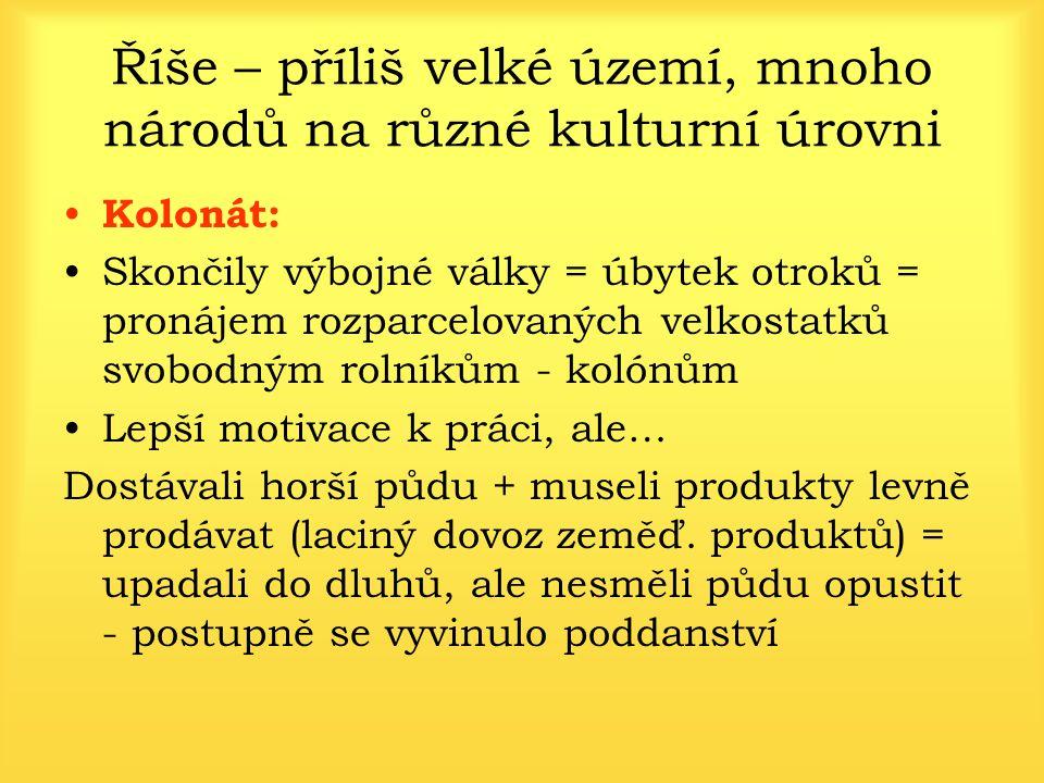 Dioklecián 284 - 305 Snaha vyřešit krizi posílením panovníkovy osobní moci Prohlásil se za neomezeného pána (dominus = pán) Vzniká nový způsob vlády: dominát