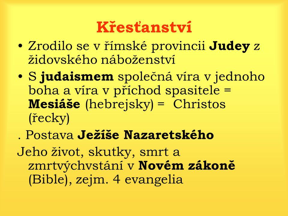 Křesťanství Zrodilo se v římské provincii Judey z židovského náboženství S judaismem společná víra v jednoho boha a víra v příchod spasitele = Mesiáše