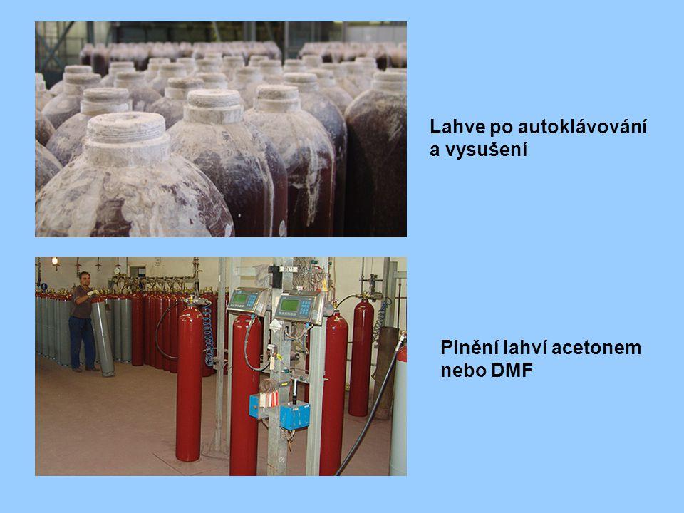 Lahve po autoklávování a vysušení Plnění lahví acetonem nebo DMF