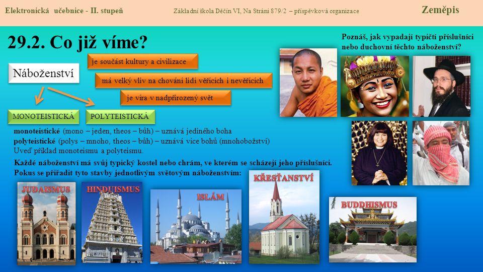 Hinduismus – web – videoweb video  polyteismus – má tisíce bohů  zákon karmy - duše žije vícekrát, tělo se převtěluje (reinkarnace)  prvkem je jóga  velké množství obřadů (např.