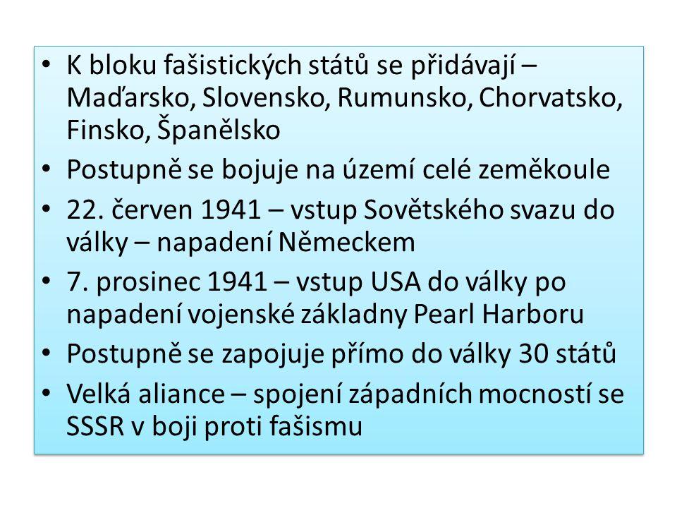 K bloku fašistických států se přidávají – Maďarsko, Slovensko, Rumunsko, Chorvatsko, Finsko, Španělsko Postupně se bojuje na území celé zeměkoule 22.