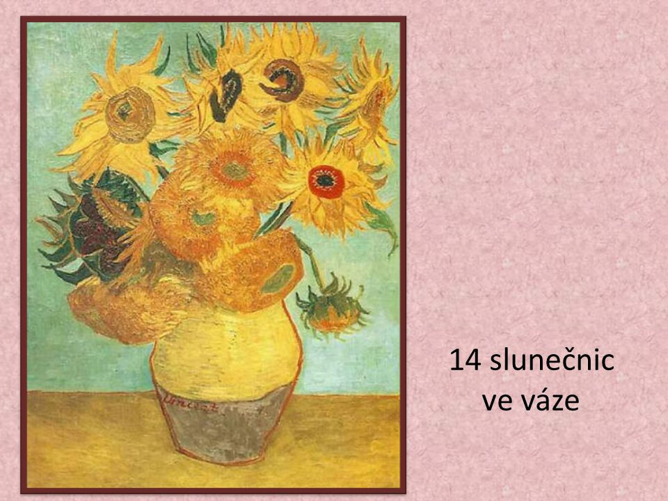 14 slunečnic ve váze