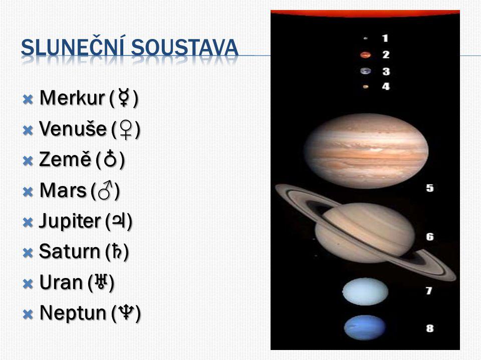  Merkur ( ☿ )  Venuše (♀)  Země ( ♁ )  Mars (♂)  Jupiter ( ♃ )  Saturn ( ♄ )  Uran ( ♅ )  Neptun ( ♆ )