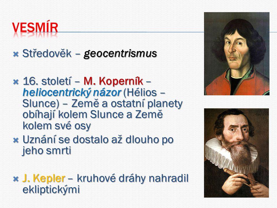  Středověk – geocentrismus  16. století – M.