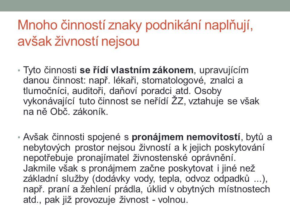 Druhy živností/živnosti ohlašovací Volné – příloha č.