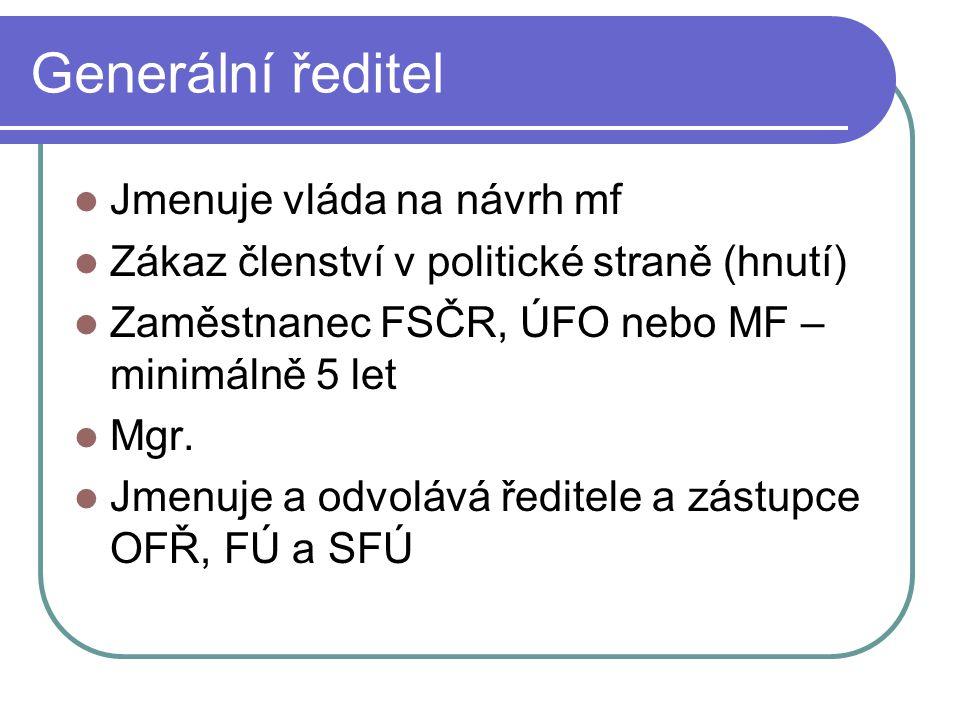 Generální ředitel Jmenuje vláda na návrh mf Zákaz členství v politické straně (hnutí) Zaměstnanec FSČR, ÚFO nebo MF – minimálně 5 let Mgr. Jmenuje a o