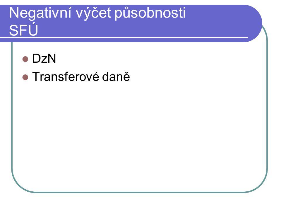 Negativní výčet působnosti SFÚ DzN Transferové daně