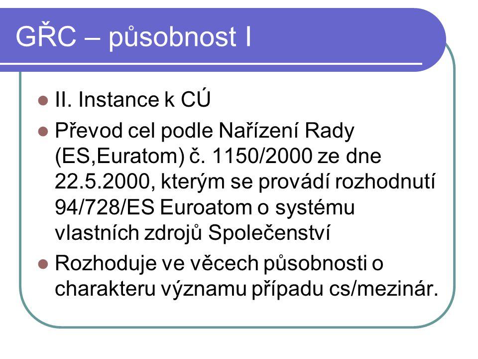 GŘC – působnost I II. Instance k CÚ Převod cel podle Nařízení Rady (ES,Euratom) č. 1150/2000 ze dne 22.5.2000, kterým se provádí rozhodnutí 94/728/ES
