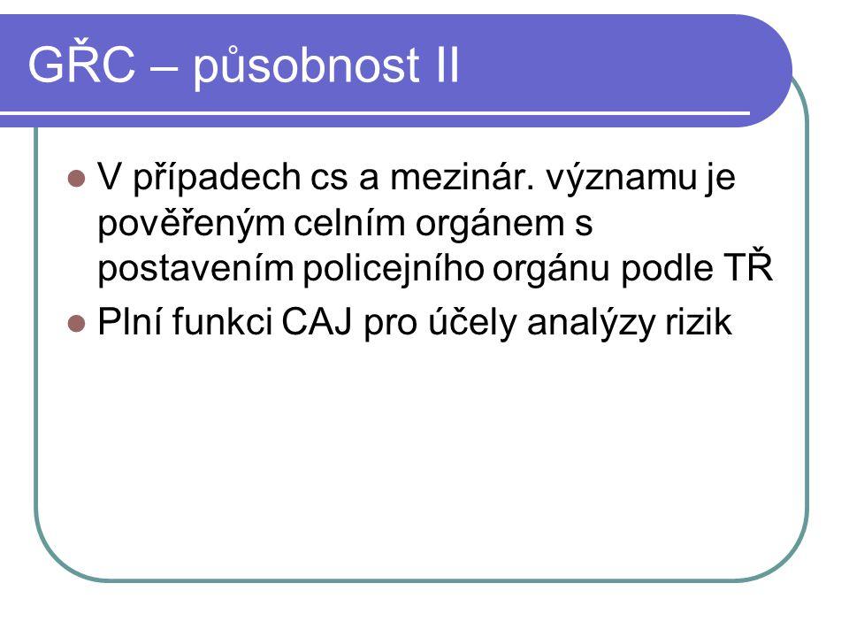 GŘC – působnost II V případech cs a mezinár. významu je pověřeným celním orgánem s postavením policejního orgánu podle TŘ Plní funkci CAJ pro účely an