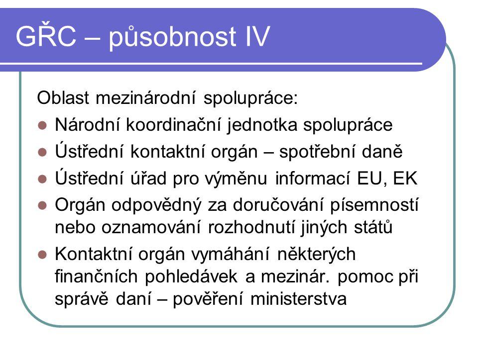 GŘC – působnost IV Oblast mezinárodní spolupráce: Národní koordinační jednotka spolupráce Ústřední kontaktní orgán – spotřební daně Ústřední úřad pro